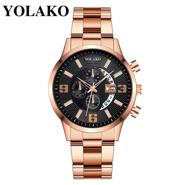 Marshallg Rossettim YOLAKO Mens Casual Fashion Quartz Stainless Steel Strap Watch Analog Watch China movement date quartz 2021 new men wristwatch sale Malaysia