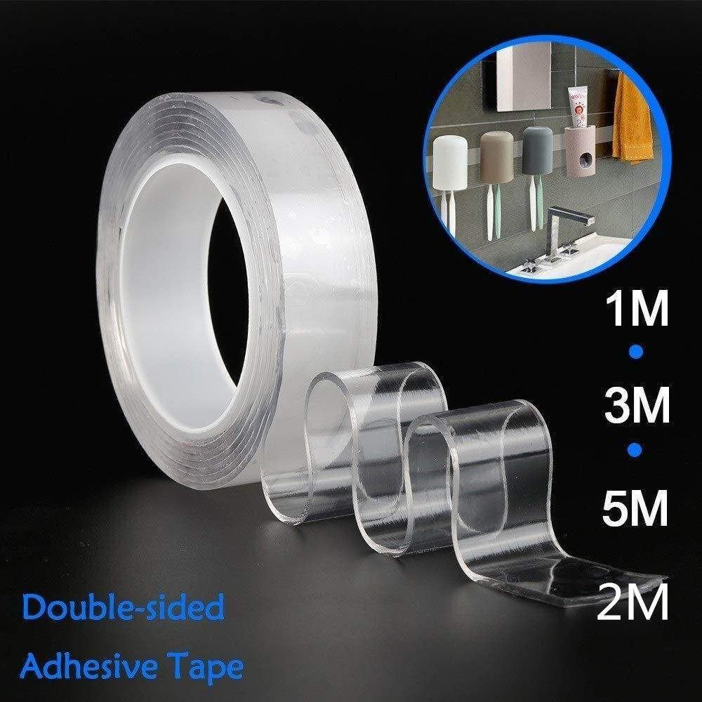 Fashiontrade Washable Adhesive Tape,Reusable Clear Double Sided Anti-Slip Nano Gel Pads,Removable Sticky Strips Grip for Fixing Carpet Phones Pictures Pen Key Household