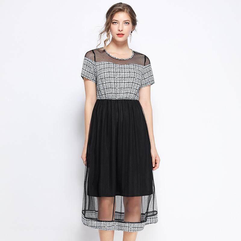 L XL XXL 3XL 4XL 5XL plus size elegant new summer 2019 women long dress  short sleeve grey plaid black mid calf hollow out lady