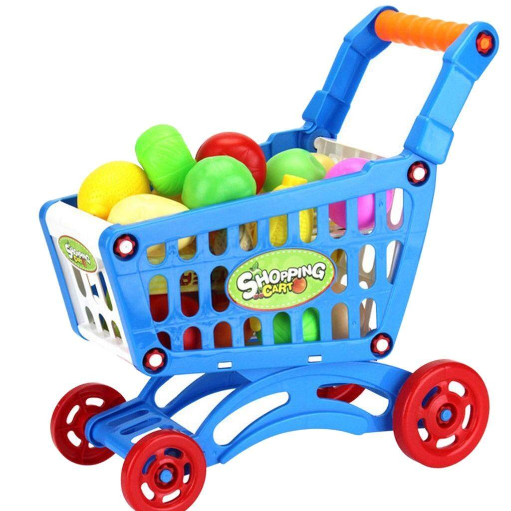 1set Kids Simulation Supermarket Shopping Cart Mini Trolley With Fruit Vegetable By Ralleya.