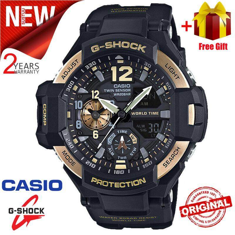 2019[spot] promotion 2 years warranty original training casual watch Casio G Shock_ GA-1100-9G fashion men and women sports Duo W / Time 200M waterproof running shockproof Malaysia