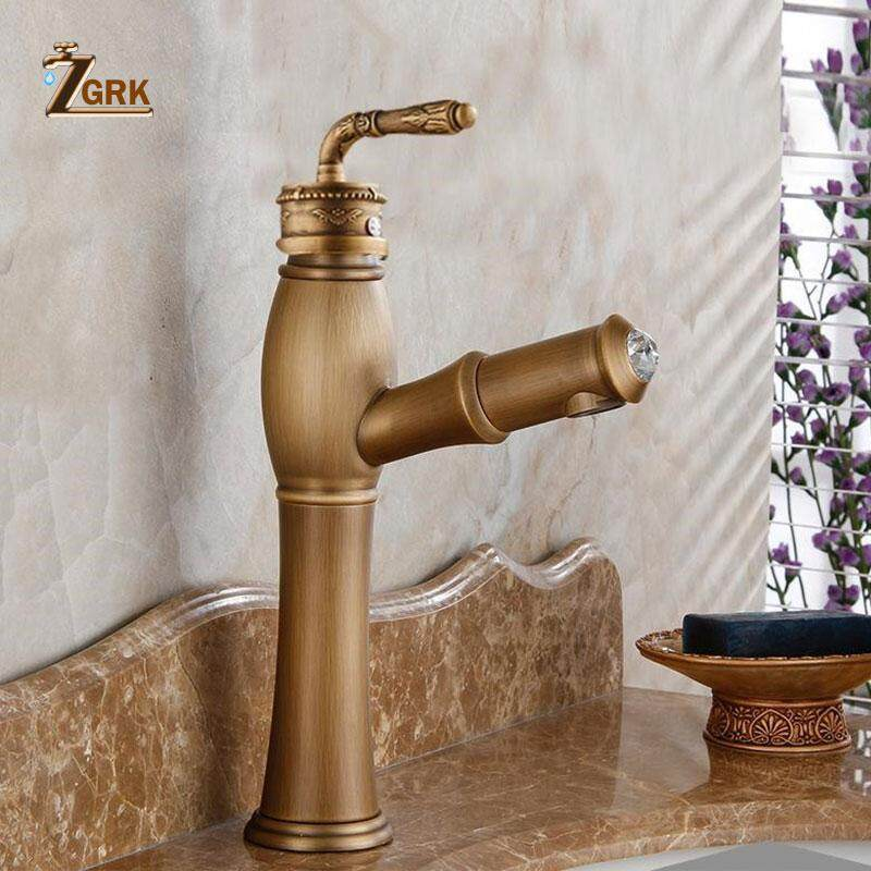 Basin Faucets Bathroom Sink Antique Brass Faucet Single Handle Vintage Deck Mount Torneiras Hot And Cold Basin Tap