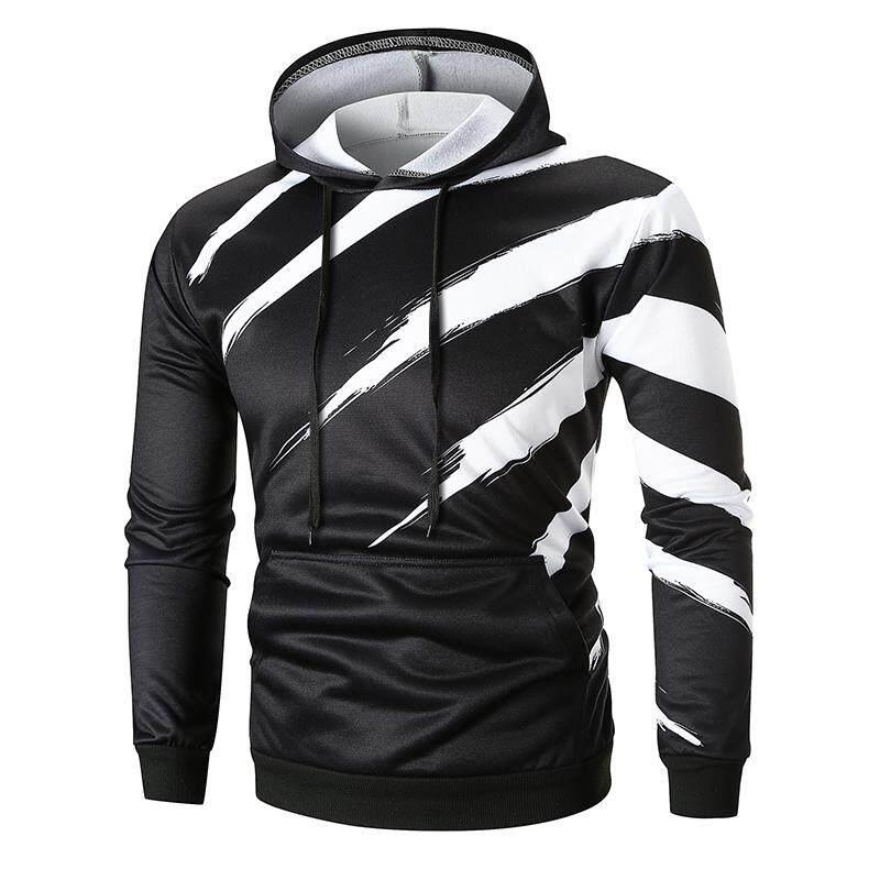 dd33fee7c86 Hooded Pullovers Hoody mens Strip printing Tops Sweatshirt Hoodies  Tracksuit Men Black White