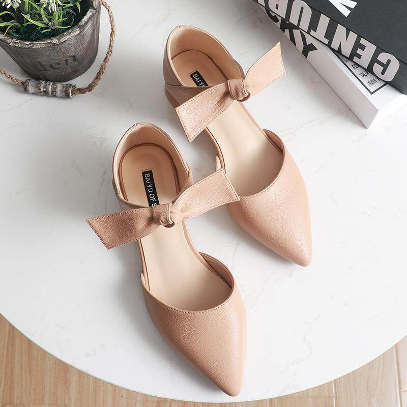 fe9d701ab35 Autumn new style thick heel single shoe female 3CM low-heeled pointed  hollow female shoe