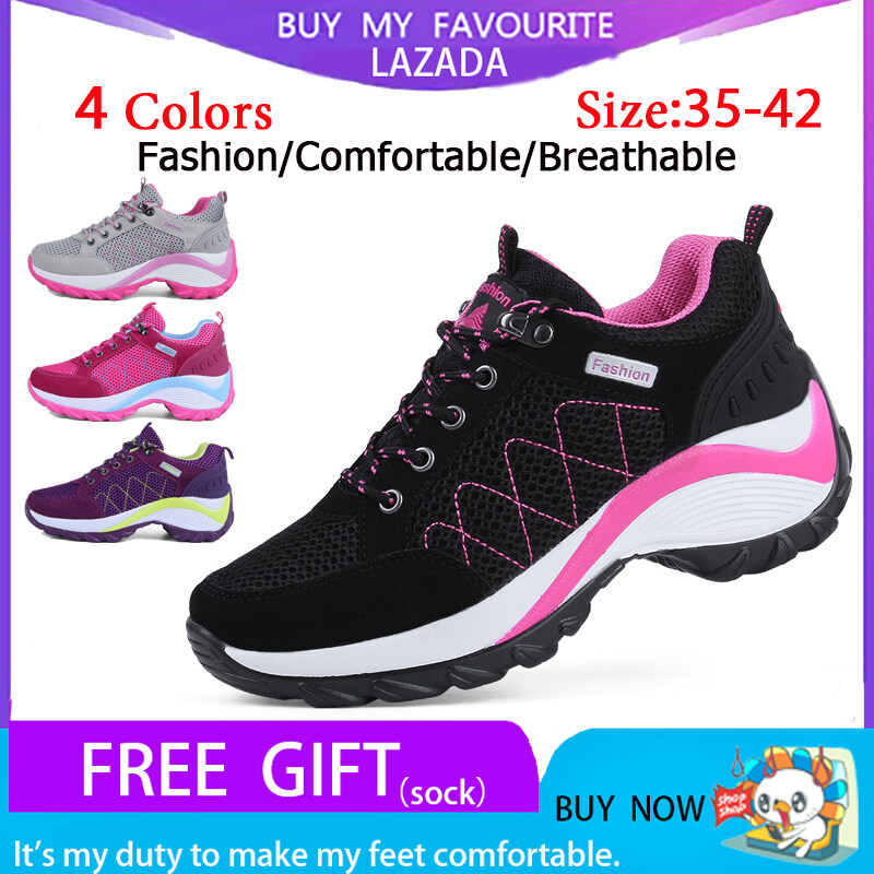 Women's breathable black sneakers shoes