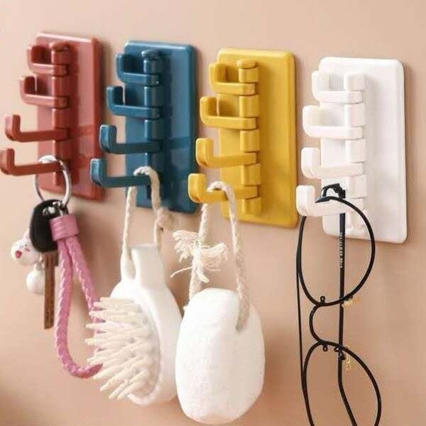 [Ready Stock] Creative Seamless Paste 4 Branch Rotary Hook Kitchen Bathroom Wall Hook Home Plain Color Hook Non-Punch Non-marking Wall No Scratch Waterproof and Oilproof [4 Color Available]