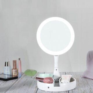 Gương LED Gương Trang Điểm, HD Gương Trang Điểm Gương Phóng Đại Ánh Sáng Tự Nhiên Để Bàn Hình Tròn, Gương Trang Điểm Hai Mặt thumbnail