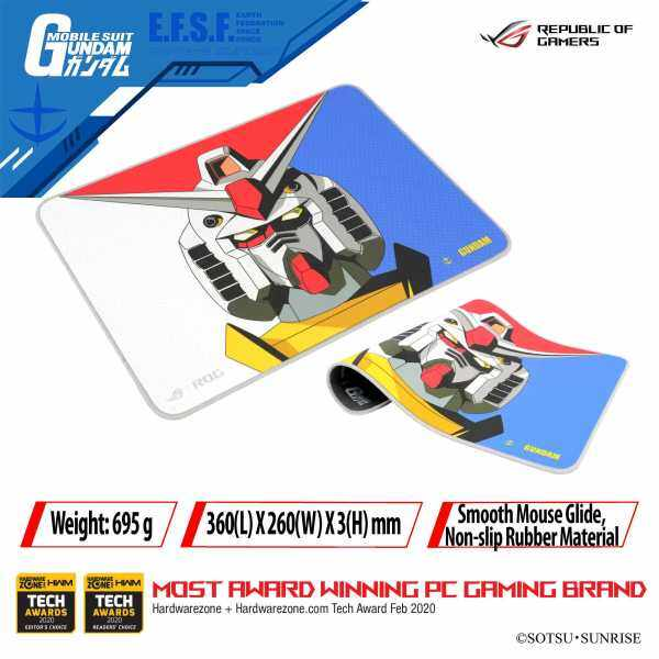 ROG Sheath GUNDAM EDITION mousepad is made of nonslip rubber and offers a secure grip on most desktop surfaces Malaysia