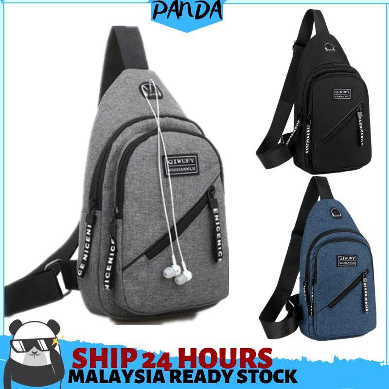 READY STOCK Chest Bag Men Backpack Canvas Causal Travel Shoulder Messenger Bag image on snachetto.com