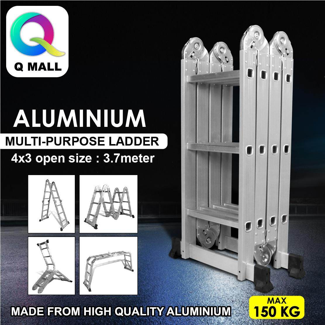 Q MALL Aluminium Multipurpose Ladder 12  Steps Folding Ladder Medium Duty Tangga 3.7meter - EN131