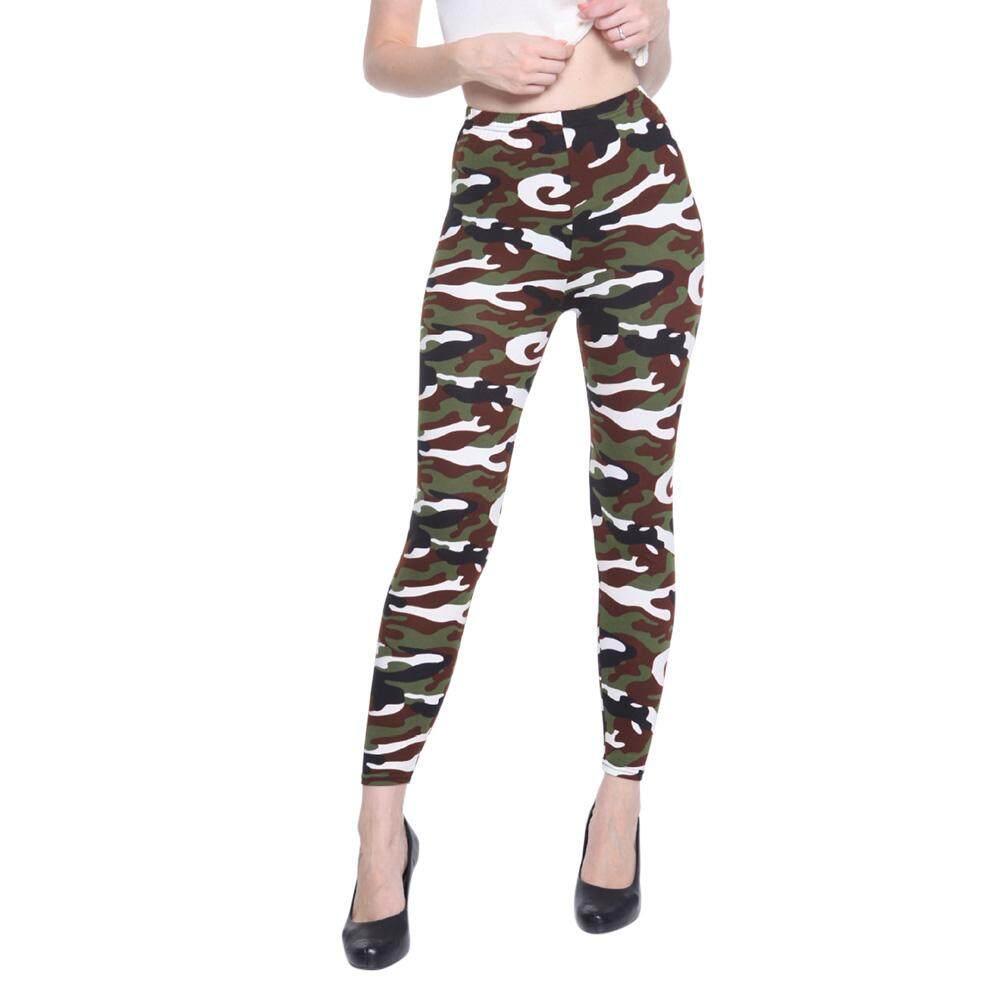 Zotop แฟชั่นฤดูใบไม้ผลิฤดูใบไม้ร่วงกางเกงขายาวรัดรูปสำหรับผู้หญิงแบบยืดหยุ่นเอวสูง Camouflage กางเกงขายาวพิมพ์ลาย Slimming กางเกงลำลอง By Zotop.