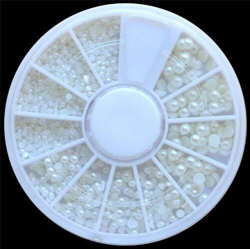 Ruiki สีขาวมุกเล็บหินขนาดแตกต่างกันล้อ rhinestones ลูกปัด