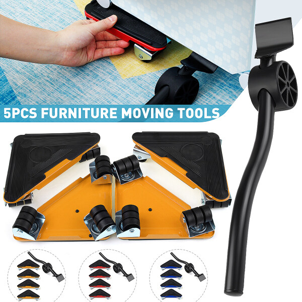 5pcs Easy Moving Furniture Mover Slider Roller Lifter Shifter Tool Moving Kit for Sofa Tables Cabinet Heavy Furniture Appliance