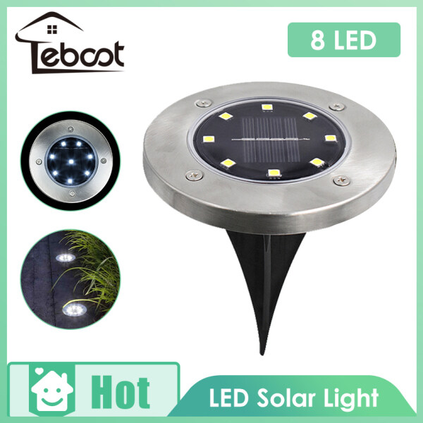 TeBoot 8LED Solar Ground Lights Outdoor Garden Stake Lights Landscape Lighting Waterproof Security Lamps Pathway Yard Floor Light