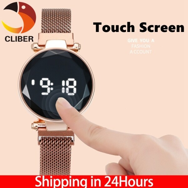 CLIBER Fashion Women Watch Touch Screen LED Watches Magnetic Mesh Belt Female Watch Electronic Clock Digital Wristwatches for Gift Malaysia