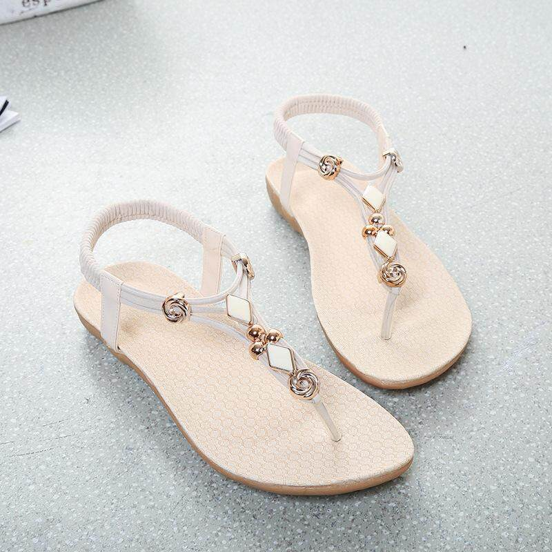 f1cda7b3b Sandals Summer 2019 new sandals fashion string beads women s sandals flat  bottom fish mouth sandals foreign