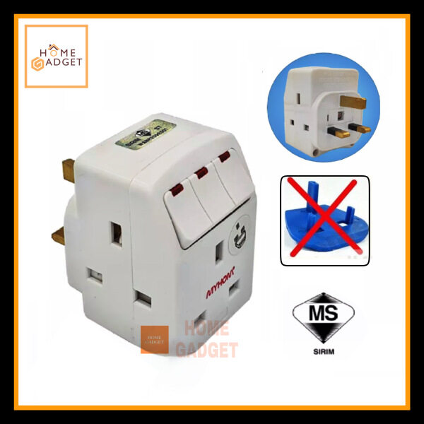 MYHOM 131UK 3 Way Adaptor c/w Individual Switches (Sirim Approved)