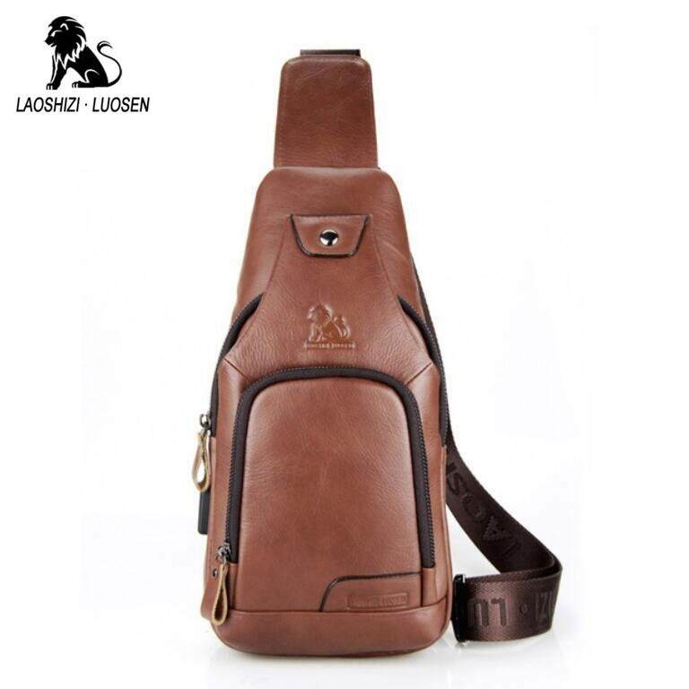 LAOSHIZI LUOSEN Vintage Chest Bag Men Shoulder Bag Genuine Leather Messenger Crossbody Retro Sling bag
