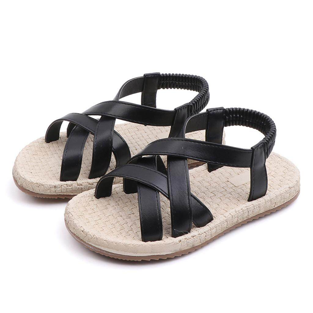 ba4e0cc27 Rayeshop Toddler Kids Baby Girls Summer Cross Elastic Band Princess Roman  Shoes Sandals【Reference EU
