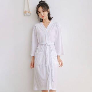 Áo Choàng Tắm Cuộc Sống IHOME, Đồ Ngủ Nữ Nam Đang Giảm Giá Đèn Gia Đình Màu Trơn Hàn Quốc Váy Ngủ Rộng Tay Dài Váy Ngủ Dài Tay Ngoại Cỡ Thời Trang Vải Cotton Mềm Mại Mặc Thường Ngày Cho Cả Nam Và Nữ 2021 Mới thumbnail