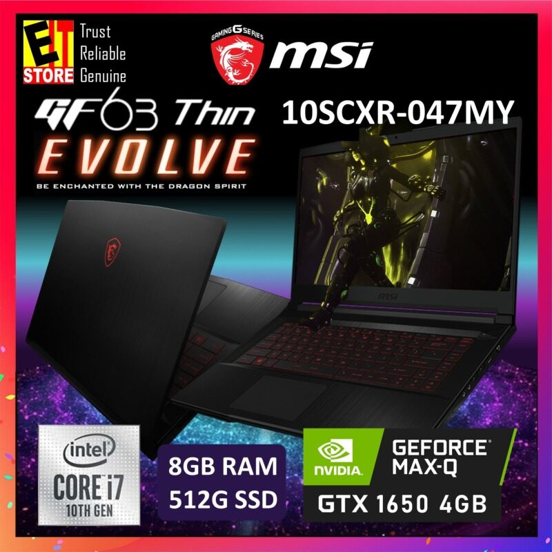 MSI GF63 THIN 10SCXR-047MY GAMING LAPTOP -BLACK (I7-10750H+HM470/8GB/512G SSD/15.6FHD/4GB GTX1650 MAXQ/W10/2YRS) + BACKPACK Malaysia