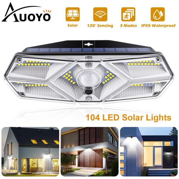 Auoyo LED Đèn Năng Lượng Mặt Trời 104 LED Solar Lights Outdoor Lighting Wall Light Lamps cảm biến chuyển động ngoài trời Lamp IPX5 chuẩn chống nước góc quay rộng 270°đèn an ninh gắn tường với 2 chế độ cho sân vườn Solar Wall Lights