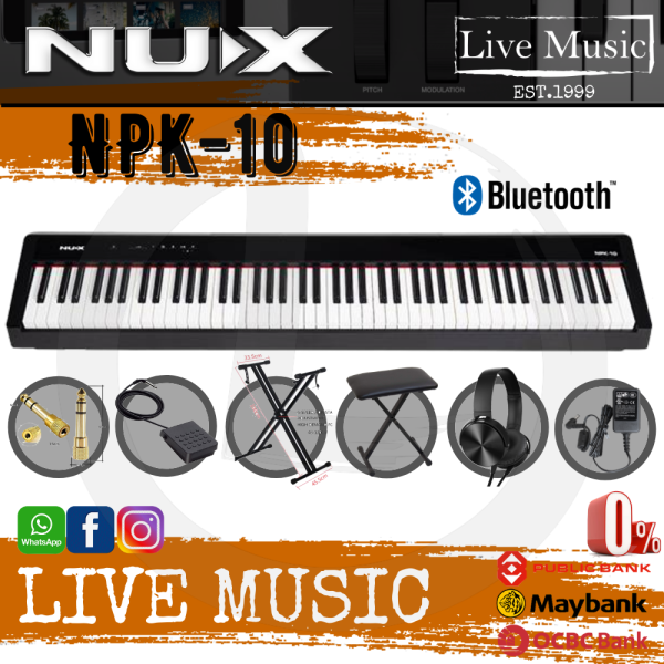 Nux NPK-10 88 Key Smart Digital Piano with Grand Hammer Action 3 Stand and Throne (NPK10/NPK 10) Malaysia