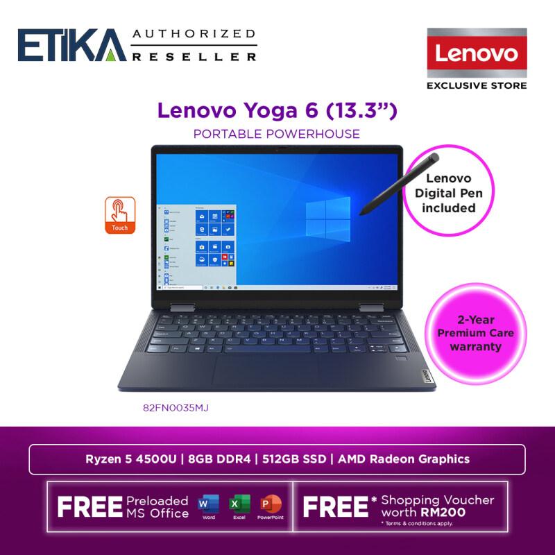 Lenovo Yoga 6 13ARE05 82FN0035MJ Laptop 13.3 | AMD Ryzen 5 4500U | 8GB | 512GB SSD | AMD Integrated Radeon Graphics | W10+H&S | Abyss Blue Malaysia
