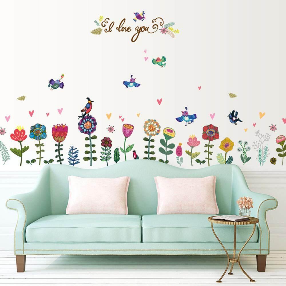 Flower Bird Glass Wall Decal Home Sticker Living Room Bedroom Kitchen Art Picture DIY PVC Murals Vinyl Paper House Decoration Wallpaper for Children Nursery Baby Teen Senior Adult