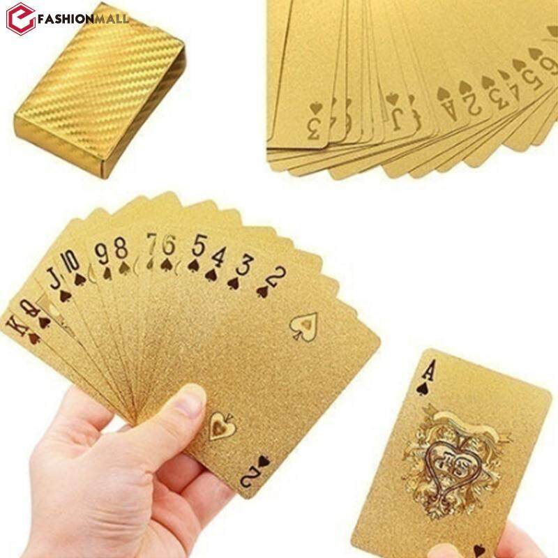 Geometric Waterproof 24K Gold Foil Poker Cards For Casino Friends Family Party