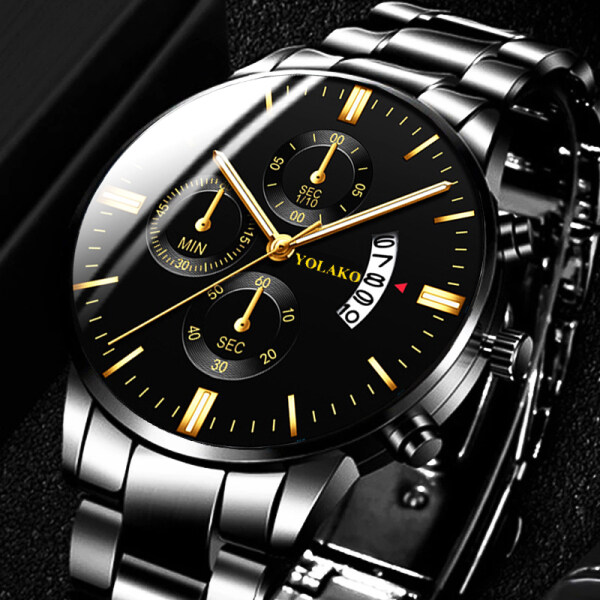 Fashion Mens Watches YOLAKO Top Luxury Brand Watches Men Automatic Date Calendar Quartz Wrist Watches For Men Sports Waterproof Watch Malaysia