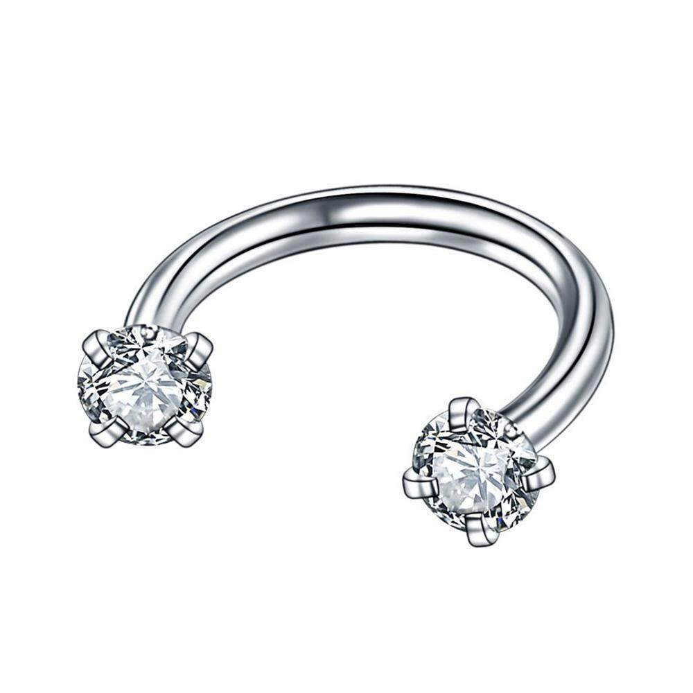 2Pcs Fashion Unisex Bedah Baja Berbentuk U Tulang Rawan Telinga Perhiasan Tindik Zircon Anting Kecil Anting-Anting