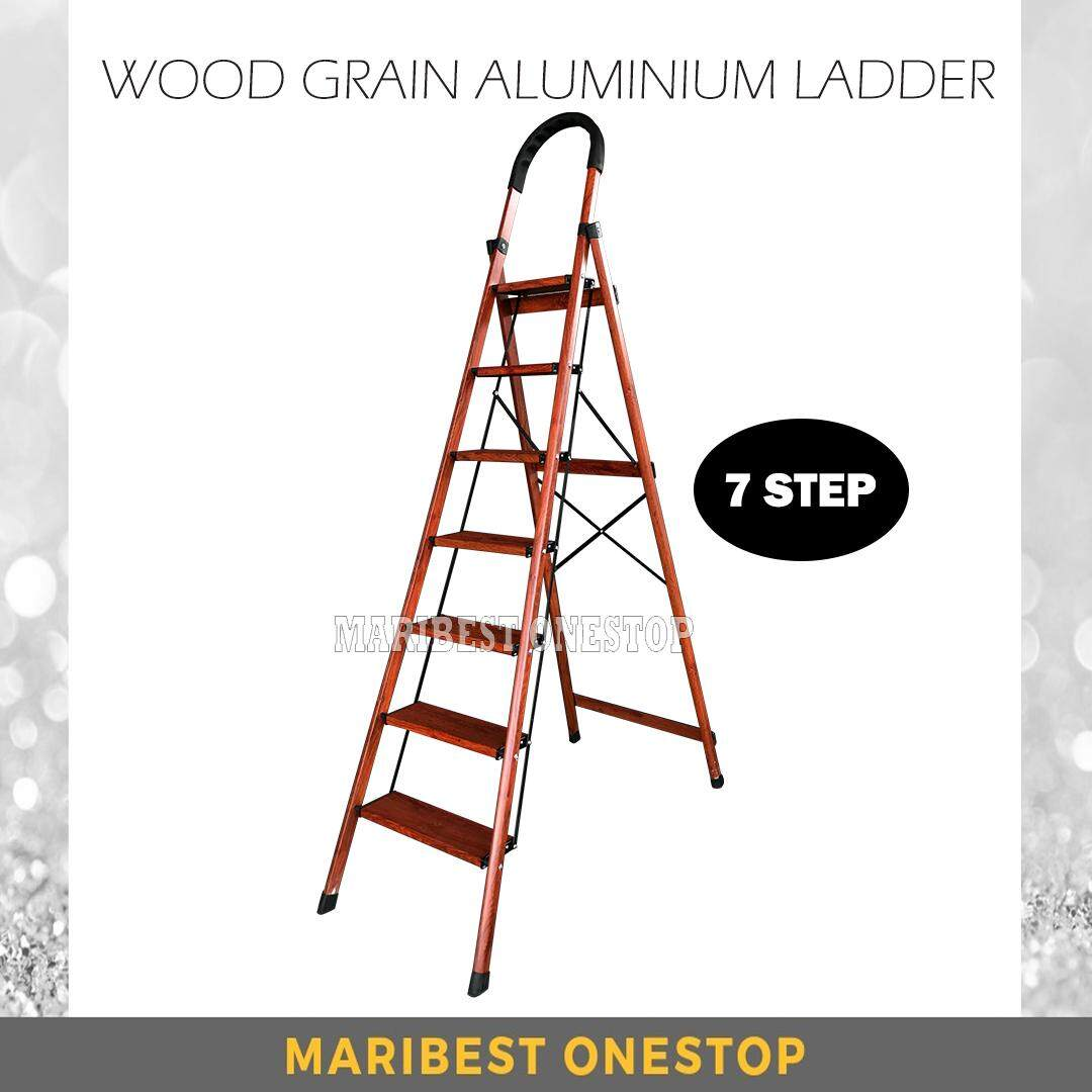 7 Step Wood Grain Aluminium Step Ladder