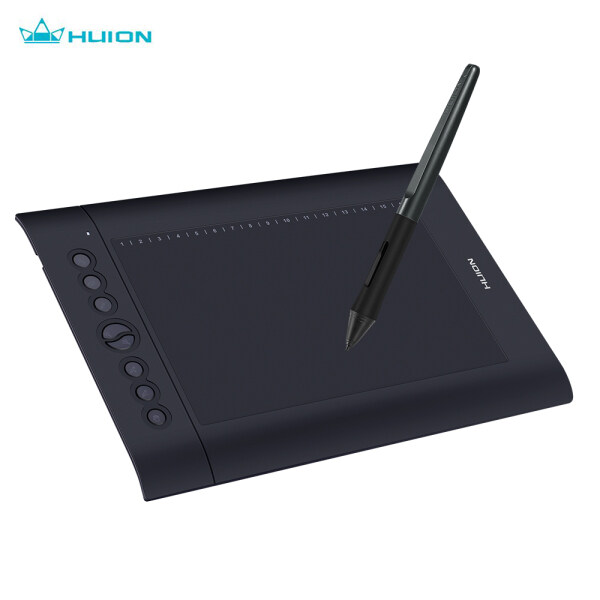 Huion H610 Pro V2 10x6.25 Inch Professional Graphics Drawing Tablet Signature Pad Board with 8 Express Keys 16 Soft Keys 8192 Levels Battery-Free Stylus Compatible with Windows 7/8/10 & Mac OS for Drawing Teaching Signature Online Course