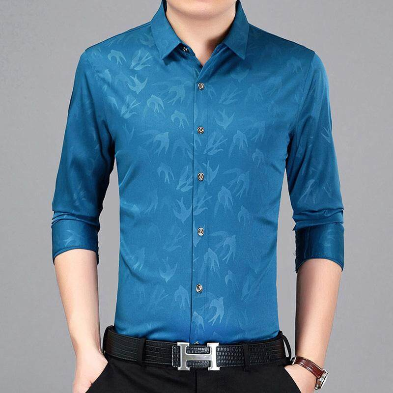 330f36fcb2ad 2019 New Printed Shirt Men s Long Sleeve Thin Section Youth Business Shirt