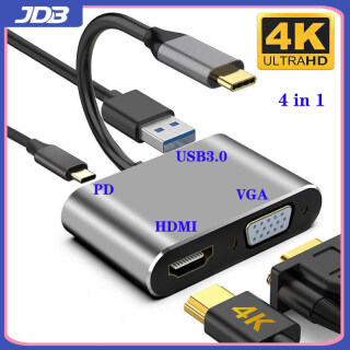 JDB USB C to HDMI adapter, USB Type C to HDMI VGA 4K hub (compatible with Thunderbolt 3) 4 in 1, with USB 3.0 port and Type-C PD 87W fast charging port, suitable for MacBook Pro Air, Galaxy S20 S10 S9 Note9 8, Huawei Mate10 20 920 P30,etc. thumbnail