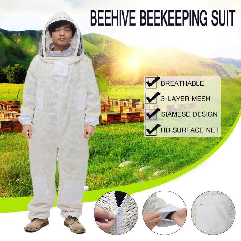 【Free Shipping + Flash Deal】3 Layer Ventilated Veil Beekeepers Bee Full Suit Gloves Beekeeping Protective