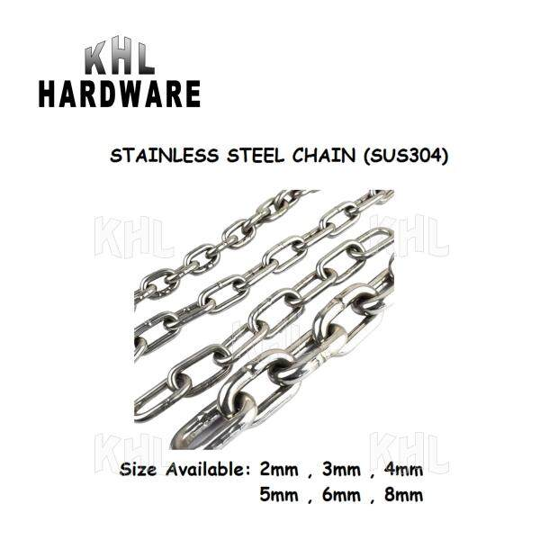 [KHL] Stainless Steel (AISI 304) Chain / Chain Link / Rantai - 2mm, 3mm, 4mm, 5mm (1 meter)