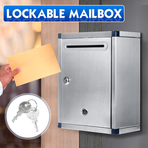 Stainless Steel Mail Letter Post Storage Box Outdoor Lockable Mailbox Wall Mount