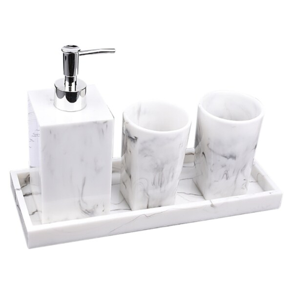 Bảng giá Bathroom Accessories Set of 4 Sets of Nordic White Marble Texture Resin Bathroom Kit Water Dispenser Lotion Bottle Tray Bathroom Accessories Phong Vũ