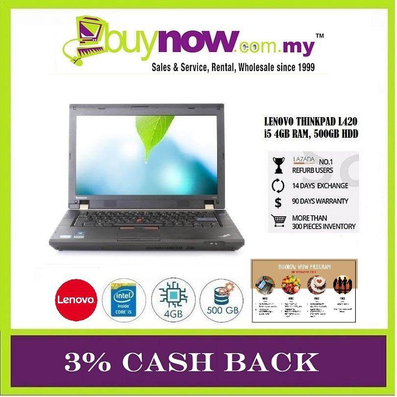 REFURBISHED Notebook Lenovo Thinkpad L420 / INTEL Core i5 / 4GB RAM / 500GB HDD / Windows 7 Pro/ FREE BAG + FREE WOW PROGRAM WORTH (RM854) Malaysia