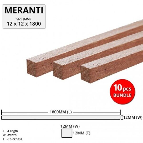 Meranti Wood Timber Smooth Planed Surfaced Four Sides (S4S) 12MM (T) x 12MM (W) x 1800MM (L) - 10PCS