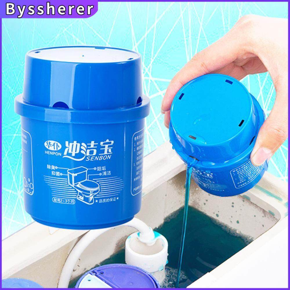 Byssherer Toilet Cleaner Detergent Freshener Automatic Magic Flush Bottled Helper Blue Bubble Amazing Home