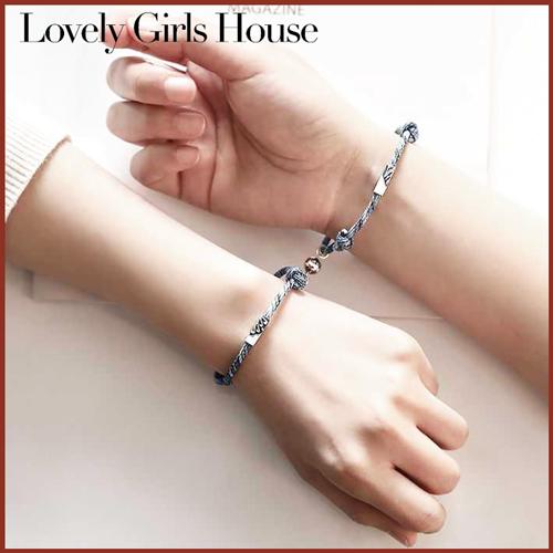 Vòng Tay Đôi 2 Cái, Dây Tình Bạn Bộ Đồ Trang Sức Nam Châm Từ Tính Bện Lovely Girls House