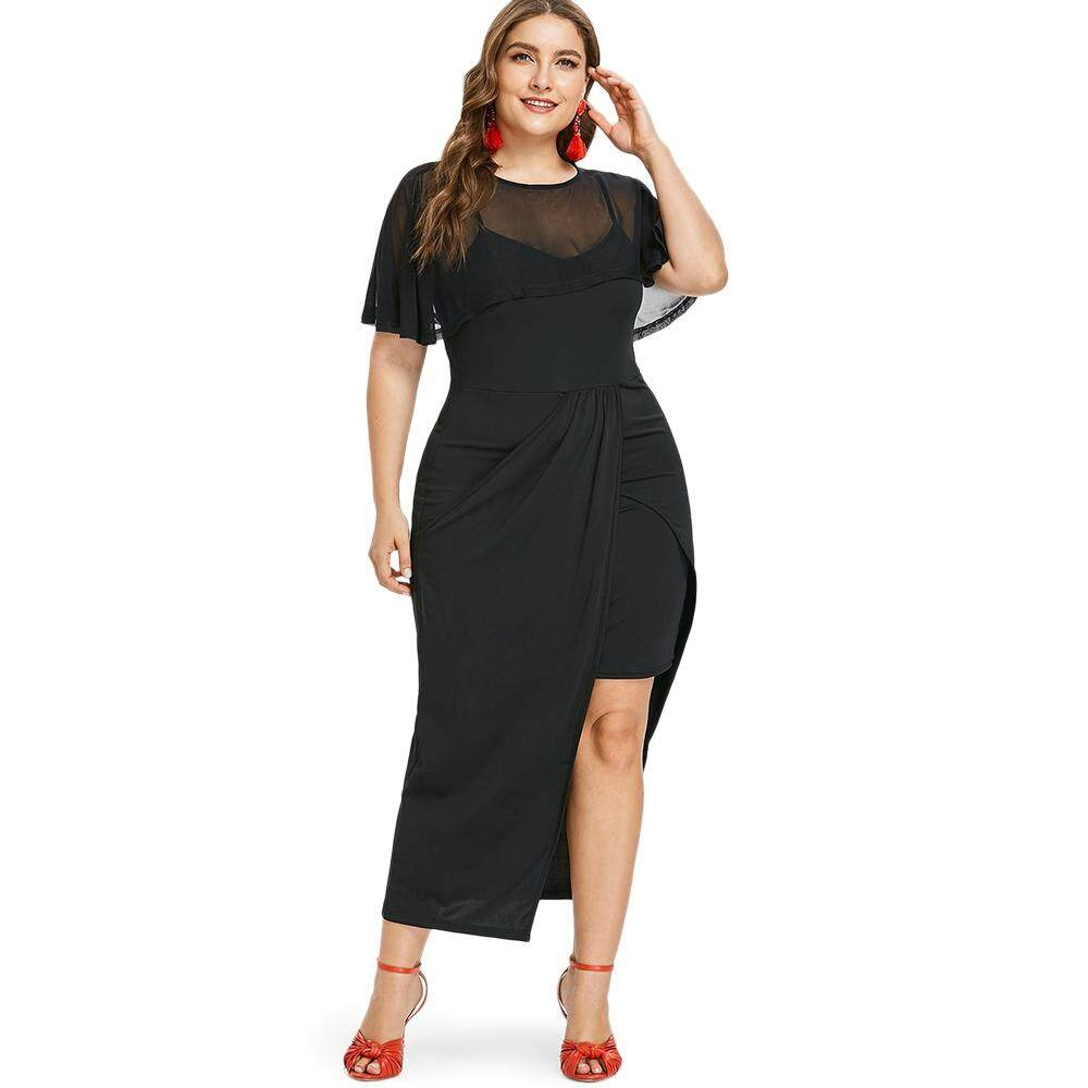 d03c1b252a0 Plus Size Women Round Neck Short Sleeve Long Dress Twinset Tunic Clothing