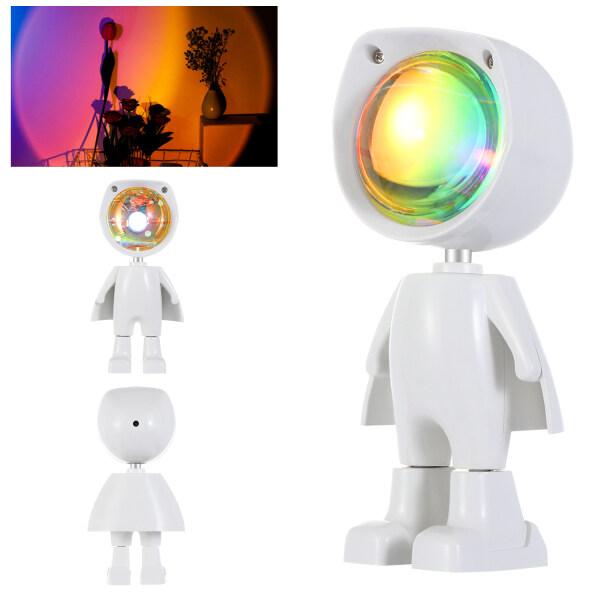 1 Đèn LED Robot Chiếu Hoàng Hôn, Đèn Sàn Chiếu Cầu Vồng USB Xoay 360 Độ Đèn Ngủ Để Trang Trí Phòng Ngủ Phòng Khách Gia Đình, Quà Tặng Sinh Nhật Ngày Valentine Giáng Sinh
