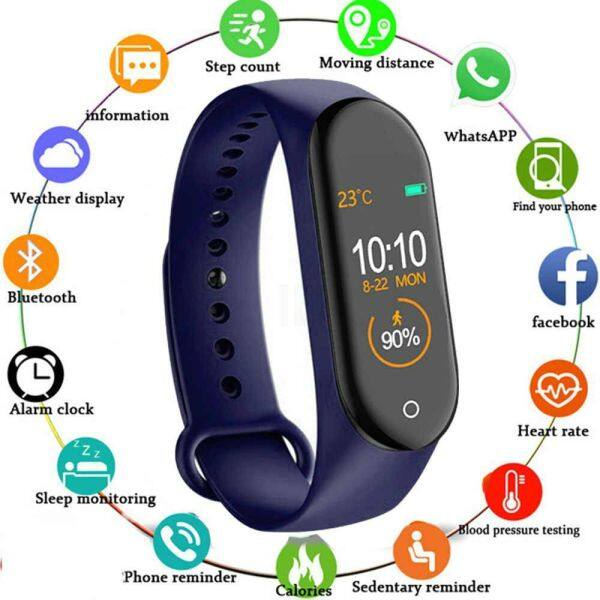 100% Original Waterproof M4 Fitness Tracker Smart Bracelet Waterproof Smart Band Fitness Tracker Sport Watch Men Women Smart Watch Malaysia