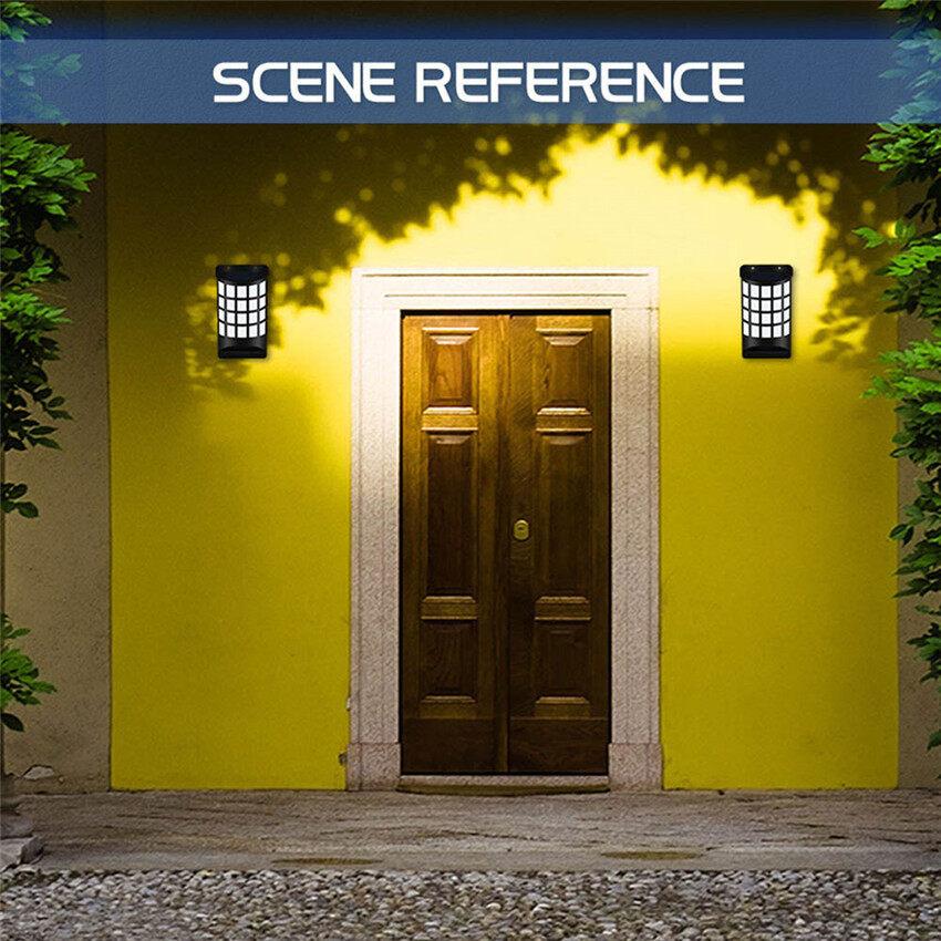 Mới Tường Năng Lượng Mặt Trời Đèn LED Ngọn Lửa Đèn Ngoài Trời Đèn Sân Vườn Cảnh Nhà Vườn Đèn Trang Trí Nhà Cảm Ứng Đèn Đường