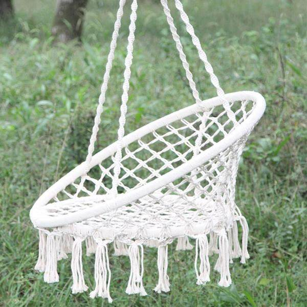 Macrame Swing Hammock Nordic Style Hanging Rope Chair for Living Room Reading Balcony Outdoor Rest