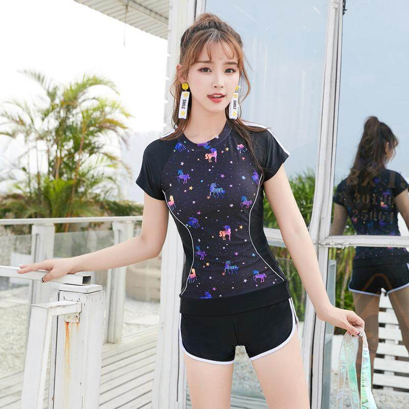 cc30a553db LYSEACIA Plus Size Tankini Swimsuit Female Short Sleeve Beachwear Two-Piece  Suits Push-Up